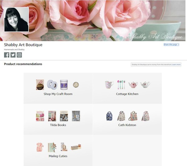 Amazon Influencer Page for Shabby Art Boutique
