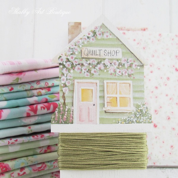 DIY Painted shabby quilt shop embroidery floss bobbin tutorial by Shabby Art Boutique
