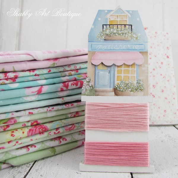 DIY Painted shabby shops embroidery floss bobbins tutorial by Shabby Art Boutique
