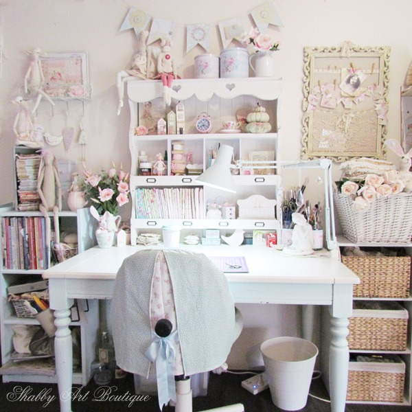In the craft room at Shabby Art Boutique and a new cubby shelf