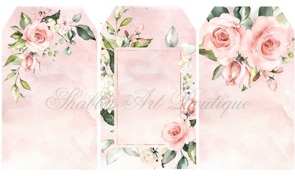 Pretty watercolour rose tags for youto print from Shabby Art Boutique