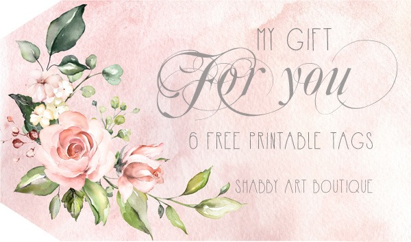 free to download - 6 pretty watercolour rose tags to print