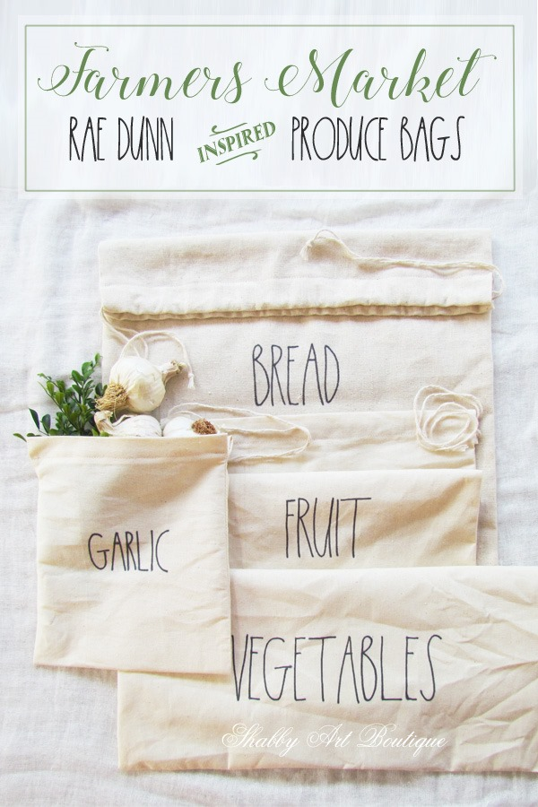 Farmers Market Rae Dunn inspired produce bags tutorial by Shabby Art Boutique