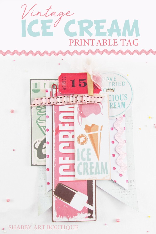 Printable vintage ice cream tags for summer by Shabby Art Boutique