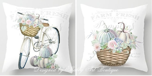 2 new fall pillows designed by Shabby Art Boutique