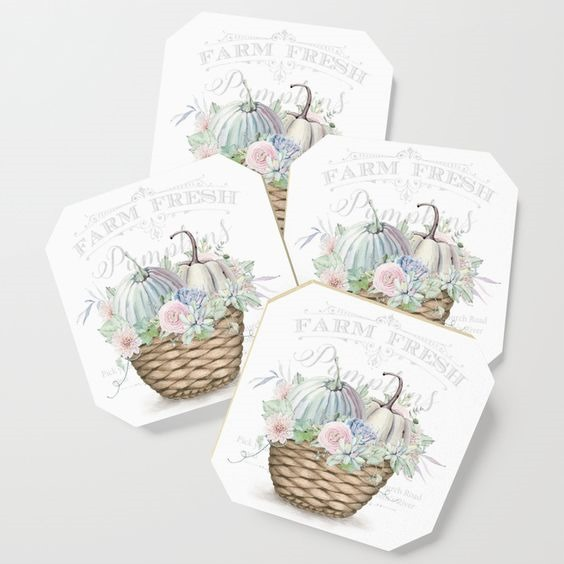 Pretty shabby chic fall coasters by Shabby Art Boutique - sold on Society6