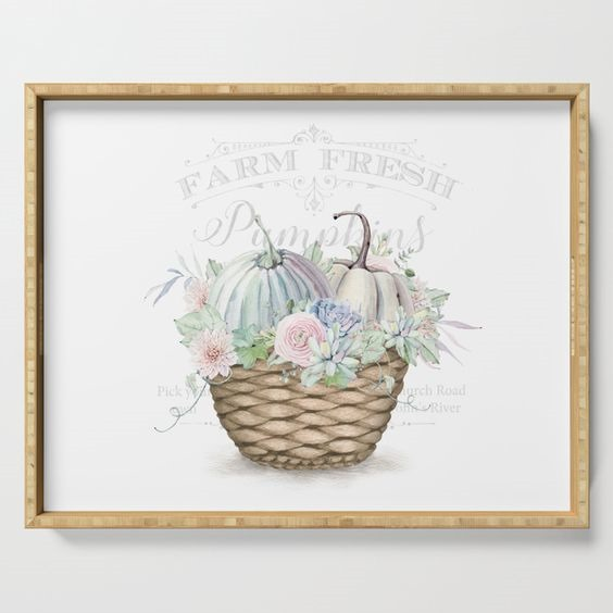 Pumkin Patch Basket serving tray design by Shabby Art Boutique, available on Society6