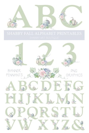 Shabby Fall alphabet printable banner pennants and graphics to download and print for all your fall crafting projects by Shabby Art Boutique