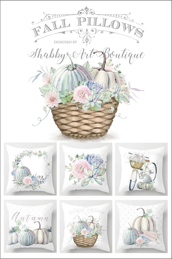 These 6 beautiful fall pillows designed by Shabby Art Boutique are available to purchase on Society6