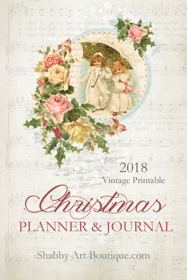 This beautiful 2018 vintage Christmas planner and journal kit are available exclusively to The Handmade Club members of Shabby Art Boutique.