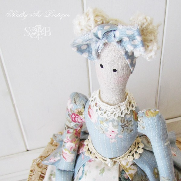 Close up of Tilda doll from Shabby Art Boutique