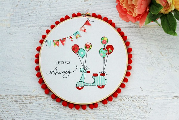 Colorful-Scooter-Embroidery-Hoop-Art