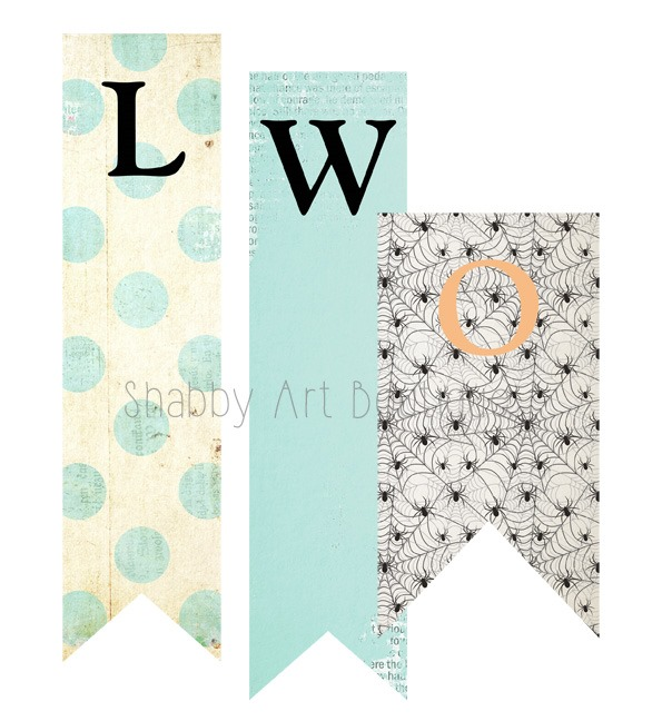 DIY printable Halloween banner to downlaod from Shabby Art Boutique