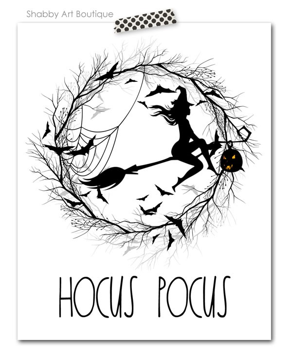 Free Rae Dunn inspired 8 x 10 Hocus Pocus Halloween printable for download from Shabby Art Boutique