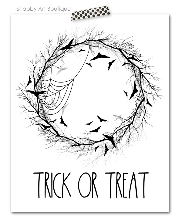Free Rae Dunn inspired 8 x 10 Trick or Treat Halloween printable for download from Shabby Art Boutique