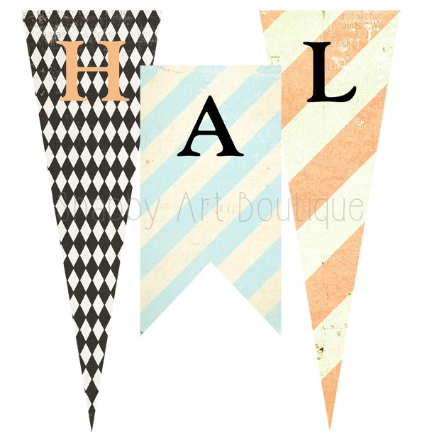 Free printable Halloween banner to downlaod and print from Shabby Art Boutique