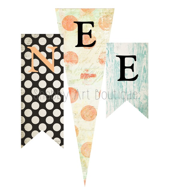 Make a Halloween banner with these free printables from Shabby Art Boutique