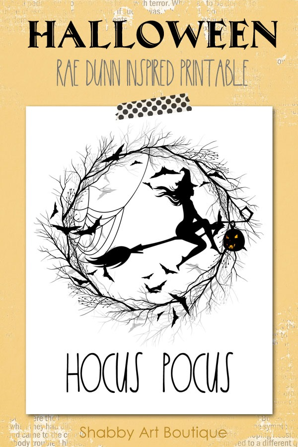 Rae Dunn inspired Halloween Hocus Pocus printable - free to downlaod from Shabby Art Boutique