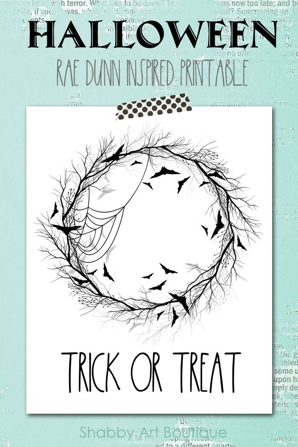 Rae Dunn inspired Halloween Printable - free to download from Shabby Art Boutique
