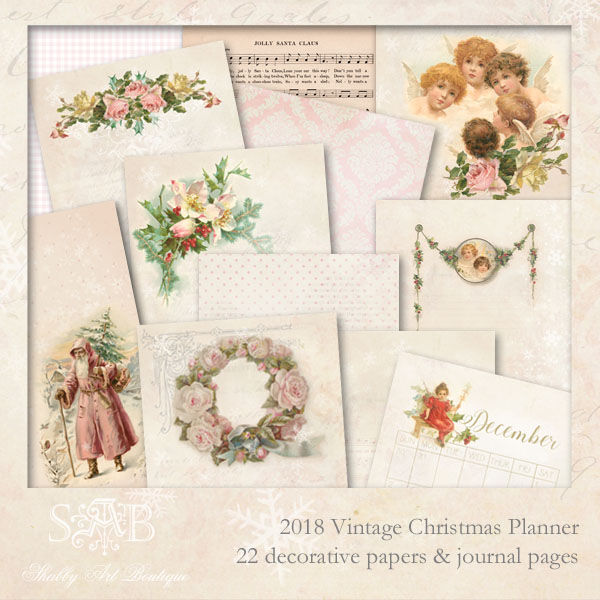 photograph regarding Decorative Paper Printable referred to as Shabby Artwork Boutiques 2018 Traditional Xmas Planner