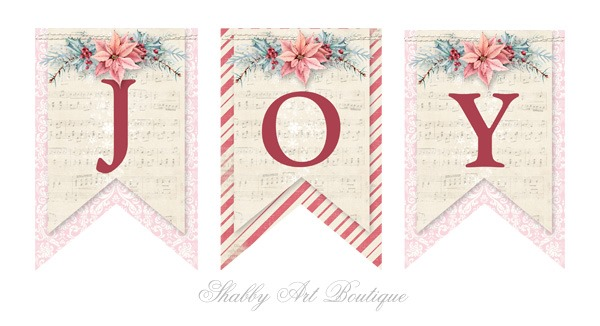 Free printable JOY banner from Shabby Art Boutique