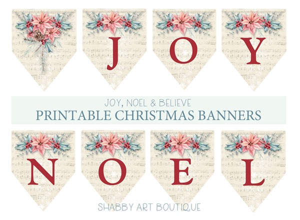 Joy Noel & Believe printable Christmas banners from Shabby Art Boutique