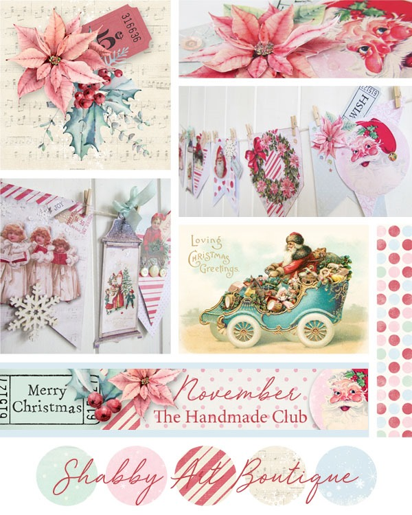 November in the Handmade Club at Shabby Art Boutique is full of vintage cottage charm - printable kit filled with papers, vintage graphics, banners, tags and embellishments for making Christmas garlands, cards