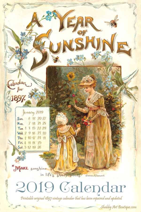picture relating to Vintage Printable called Printable 2019 Typical Calendar - Shabby Artwork Boutique
