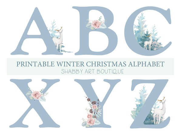Printable Winter Christmas Alphabet clipart from Shabby Art Boutique