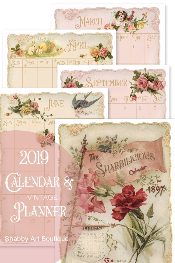 2019 Vintage Calendar and Planner available from the Handmade Club at Shabby Art Boutique