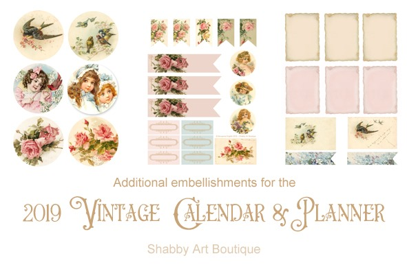 Additional embellishments for the 2019 Vintage Calendar and Planner at Shabby Art Boutique