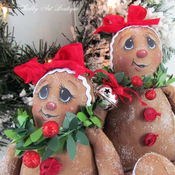 Close up of Sugarded Ginger dolls by Shabby Art Boutique