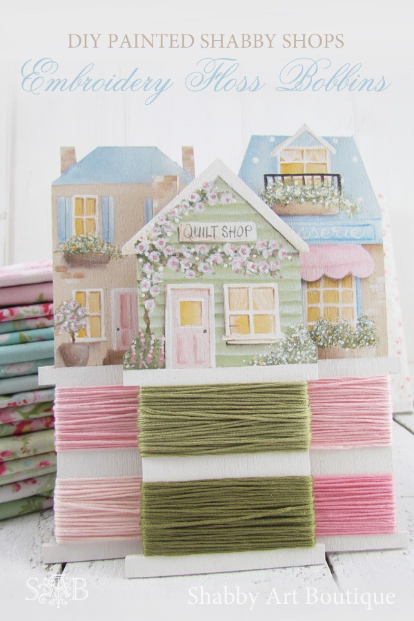DIY Painted shabby shops embroidery flos bobbins tutorial by Shabby Art Boutique