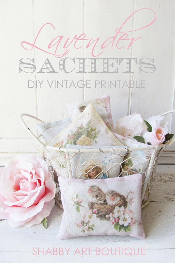 DIY printable vintage lavender sachets with full tutorial at Shabby Art Boutique