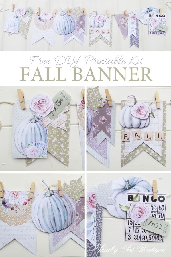 picture about Fall Banner Printable referred to as Simple Do it yourself Revealed Drop Banner Package - Shabby Artwork Boutique