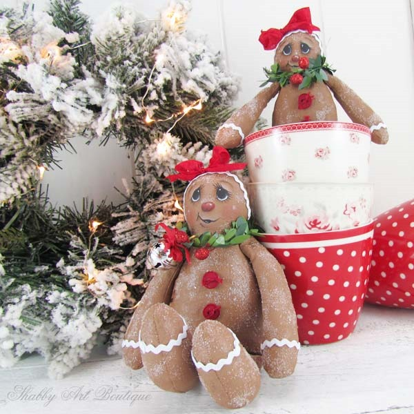Free pattern and tutorial for making these cute Sugared Ginger dolls for Christmas by Shabby Art Boutique