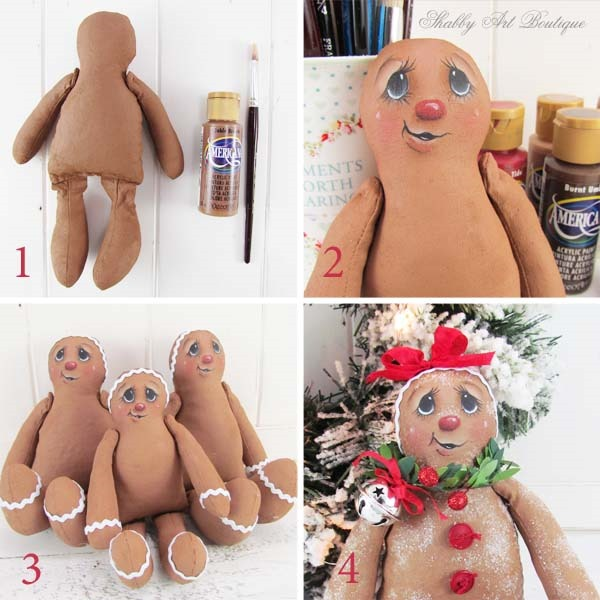 How to make Sugared Ginger dolls tutorial and pattern from Shabby Art Boutique