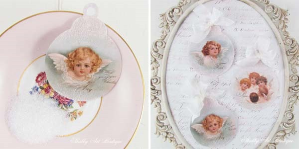 How to make a trio of Victorian Angel Ornaments from Shabby Art Boutique