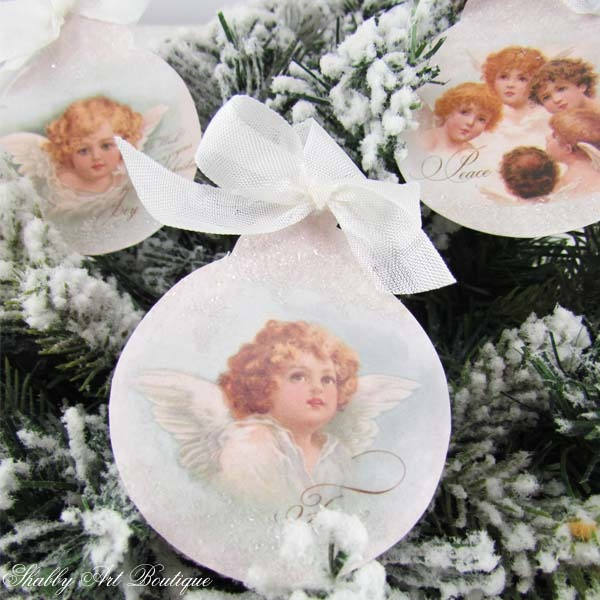 How to make vintage angel ornaments with a printable from Shabby Art Boutique