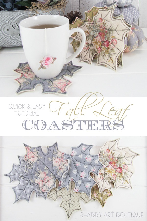 Quick and easy tutorial for making fabric Fall leaf coasters by Shabby Art Boutique
