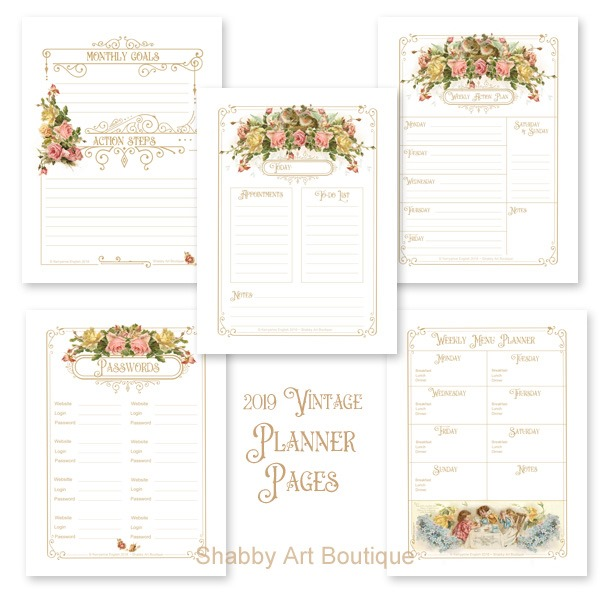 The 2019 Vintage Calendar and Planner available form Shabby Art Boutique