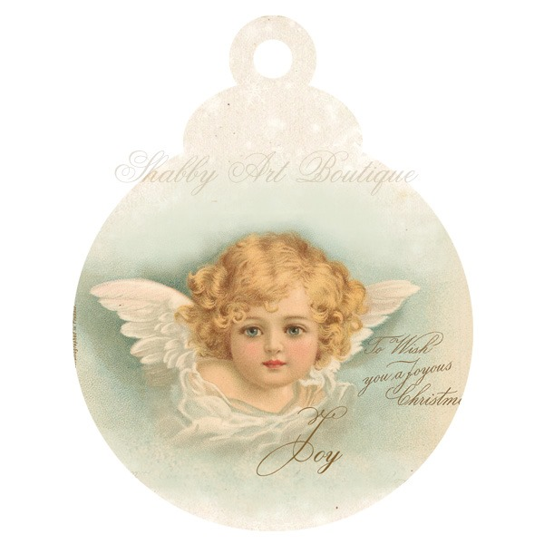 Trio of Angel ornaments to downlaod and print from Shabby Art Boutique - ornament 2
