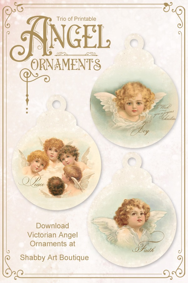 Trio of printable Victorian Angel Ornaments from Shabby Art Boutique