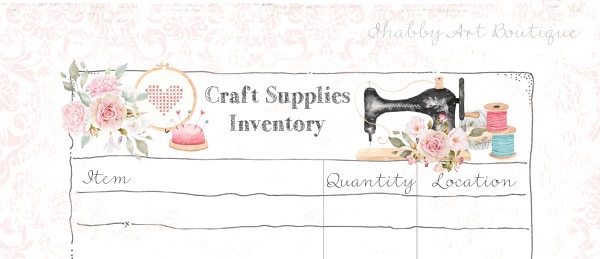 Close up of Craft Supplies Inventory list printable from Shabby Art Boutique