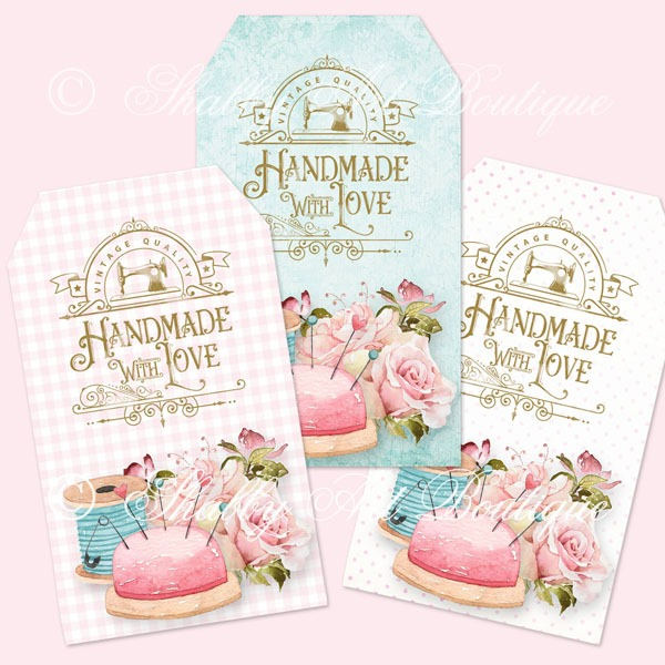 Shabby pincushion Handamde with Love tags by Shabby Art Boutique and sold on Etsy