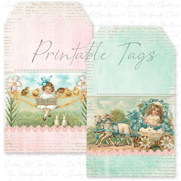 February 2019 kit from the Shabby Art Boutique Handmade Club - a variety of printable tags