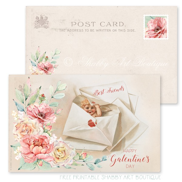Free printable Galantines Day Postcard from Shabby Art Boutique