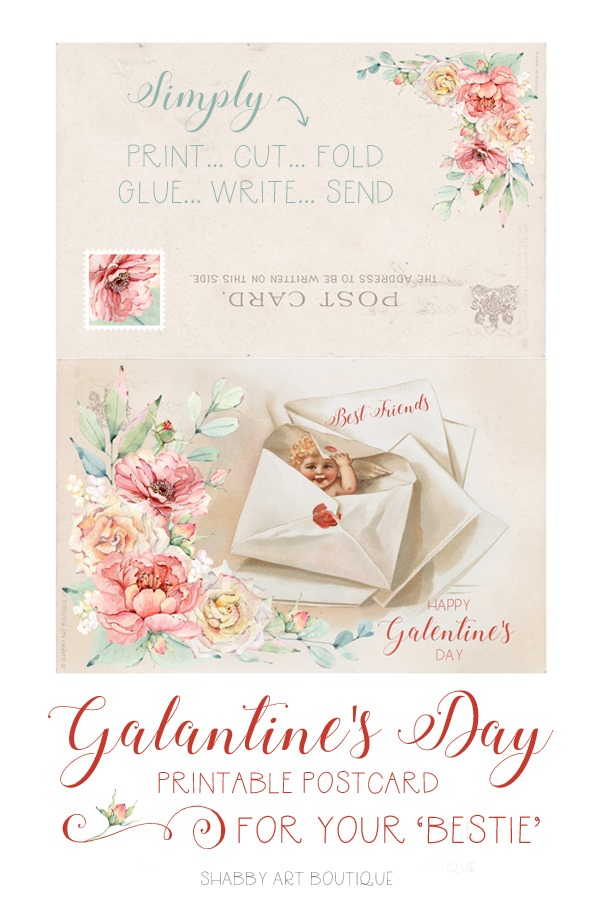 Make your 'Bestie' a pretty postcard to celebrate Galantined Day on February 13th - free printable from Shabby Art Boutique