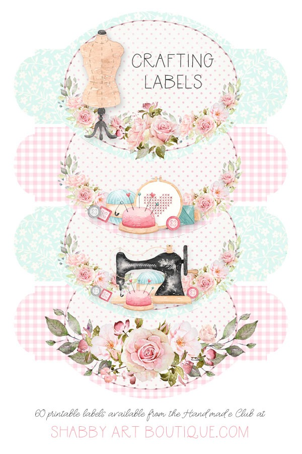 60 beautiful crafting labels available in the March kit of the Handmade Club - March 2019 only - from Shabby Art Boutique