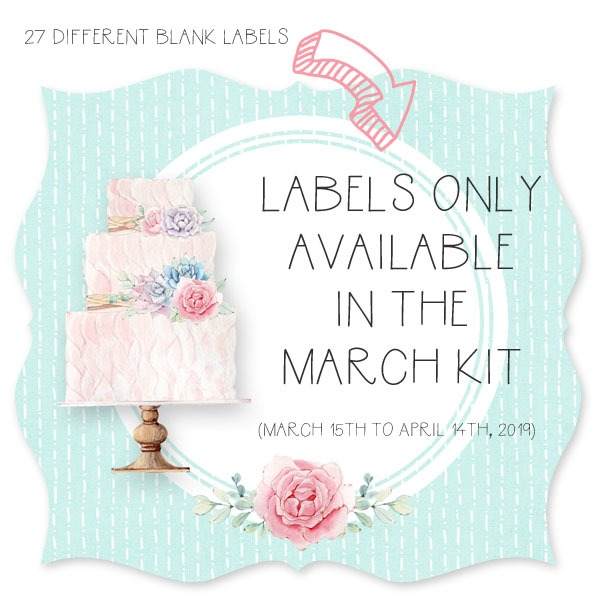 In the March kit from the Handmade Club there are 60 printable labels and 27 of them are blank and ready to be edited - available from Shabby Art Boutique